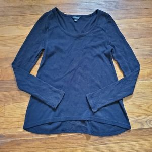 Lucky Brand waffle knit black long sleeve top Tee
